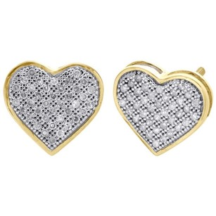 10k Yellow Gold Genuine Pave Diamond Heart Studs Ladies 11mm Earrings 0.25 Ct.