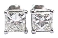 Other Fine Princess Cut Diamond Stud Earrings White Gold Screw Back 1.12ct 1.12ct