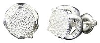 Real Sterling Silver White Gold Round Lab Simulated Diamond Stud Earrings Mm