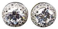 Mens Yellow Gold Sterling Silver Lab Diamonds Flawless Round Stud Earrings 10mm