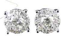 2,Ct,Mens,Ladies,14k,White,Gold,Solitaire,Look,Vs,Diamond,Stud,Earrings,10,Mm