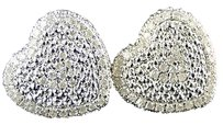 Ladies,Womens,14mm,White,Gold,Finish,Heart,Shape,3d,Diamond,Stud,Earrings,12,Ct