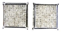 10k,Mens,White,Gold,Princess,Diamond,Invisible,Bezel,4,Prong,Studs,Earrings