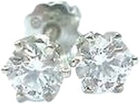 Fine Round Cut Diamond Stud Earrings .50ct Screw Back White Gold