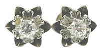Fine,Vintage,Old,European,Cut,Diamond,Stud,Earrings,.35ct,Screw,Back,Yellow,Gold