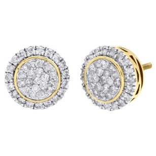 Other 10k Yellow Gold Real Diamond Circel Tier Halo Frame Studs Pave Earring 1.14 Ct.