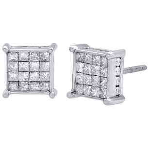 14k White Gold Princess Diamond Square Studs Prong 8mm 3d Earrings 1 Ct.