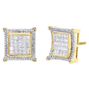Other 10k Yellow Gold Princess Cut Diamond Square Halo Frame Earrings Studs 1.25 Ct.