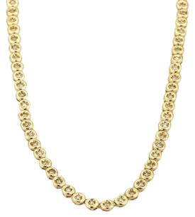 Other 2ct Diamond 18k Yellow Gold Fancy Circle Bezel Link Tennis Necklace