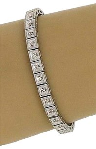 Estate 18k White Gold 1.15ctw Diamond Fancy Design Tennis Bracelet 7.25 Long
