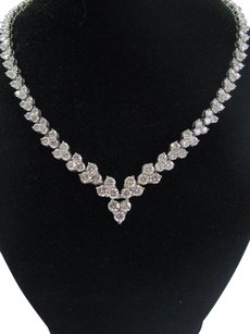 18kt Round Cut Diamond White Gold Riviera Necklace 16.5 189-stones 30.00ct