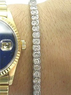 Fine Round Cut Diamond Bezel Set Diamond Tennis Bracelet Wg 5.60ct
