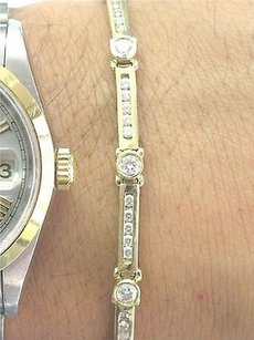 Other Fine,14kt,Round,Cut,Diamond,Yellow,Gold,Tennis,Bracelet,2.10ct,Ef-vvs