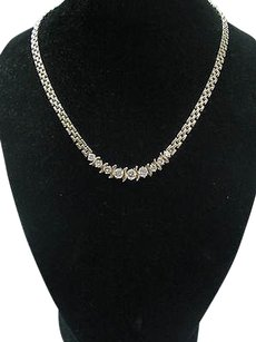 Fine Round Cut Diamond 9-stone Yellow Gold Necklace 3.40ct