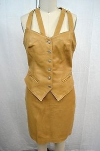 John Michael Vintage Carmel Leather Vest Skirt Suit 6