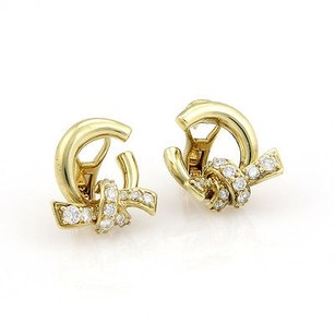 Other Jose Hess 18k Yellow Gold Diamond Knot Designer Earrings