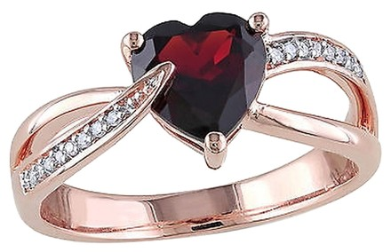 Other 10k Pink Gold Diamond And 1 38 Ct Garnet Heart Love Crossover Swivel Ring I2i3