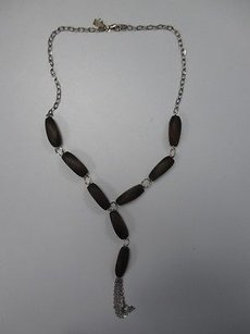 K. Amato Silver Tone Chain Link Dangling Necklace W Wood Accents B2877