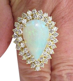 K Yellow Gold Pear Shaped Opal Ring Set W Two Rows Of Diamonds - Exquisite