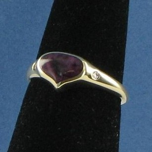 Other Kabana Purple Heart Ring 0.03cts Diamonds Spiny Oyster 14k Yg