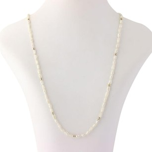 Keshi Pearl Strand Necklace 30 - 14k Yellow Gold Womens Fine Estate June Gift