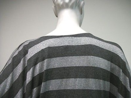 Lavish Gray Silver Striped Sweater Poncho Style Top Made In Usa #13881295 - on sale