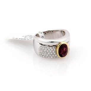 Koesia 1.60ct Diamonds Garnet Fancy 12mm Wide 18k White Gold Band Ring