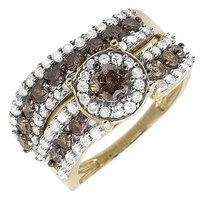 Other Ladies 10k Yellow Gold Genuine Diamond Bridal Set Engagement Band Ring 0.50ct