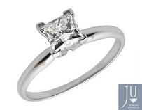 Other Ladies 14k White Gold Prong Princess Diamond Solitaire Engagement Ring 0.50ct