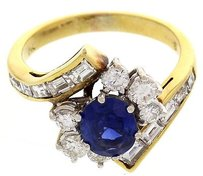 Ladies 18k Yellow White Gold Ring With Oval Sapphires Diamonds
