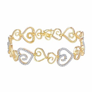 Ladies Heart Bracelet Yellow Gold Over Sterling Silver Simulated Diamond