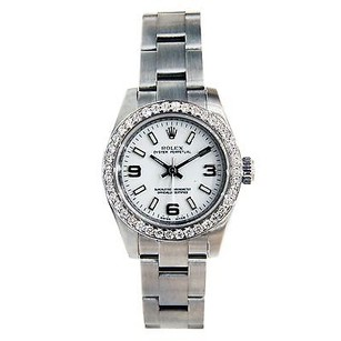 Other Ladies Rolex Oyster Perpetual 176200 White Dial Ss Bracelet Diamond Bezel
