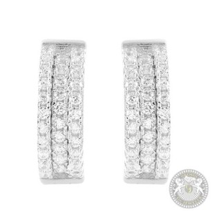 Ladies Sterling Silver Lab Diamond Designer Hoop Earrings White Gold Finish Sale