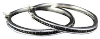 Ladies White Gold Finish Genuine Black Diamond Hoop Earrings Inch .75 Ct