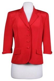 Laughlin Womens Red Blazer Ply Silk Wtw Basic Jacket 34 Sleeve