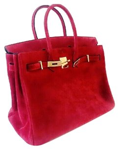 Leather 35cm Tote in red