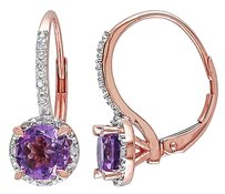 10k Pink Gold Diamond And 1 13 Ct Tgw Amethyst Leverback Earrings Gh I2i3