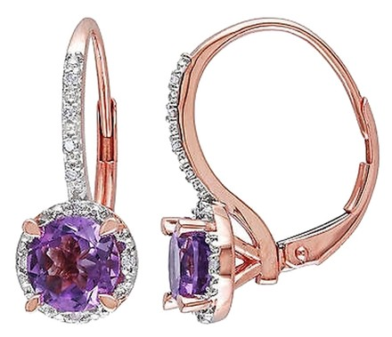 Other 10k Pink Gold Diamond And 1 13 Ct Tgw Amethyst Leverback Earrings Gh I2i3