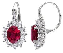 Sterling Silver 8.1 Ct Tw Diamond Ruby White Sapphire Leverback Earrings Gh I3