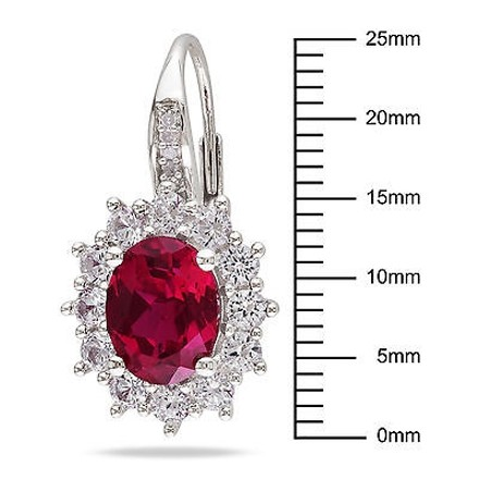 Other Sterling Silver 8.1 Ct Tw Diamond Ruby White Sapphire Leverback Earrings Gh I3