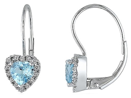 Other 10k White Gold 17 Ct Diamond And 1 110 Ct Sky Blue Topaz Heart Earrings