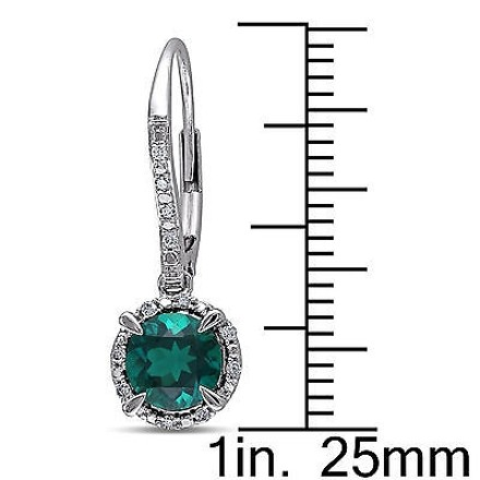 Other 10k White Gold 110 Ct Diamond 1 34 Ctemerald Leverback Earrings Gh I2i3