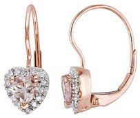 10k Pink Gold 17 Ct Diamond Tw And 1 Ct Tgw Morganite Heart Earrings Gh I2i3