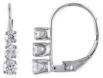 Other 14k White Gold 12 Ct Diamond Tw 3 Stone Leverback Earrings Gh I2i3