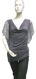 Lilac Gray Lace Trim Batwing Sleeve Cowl Neck Maternity Top