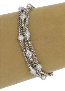 Estate 18k Multi-strand 6.00ct Diamonds Bracelet-7 Long