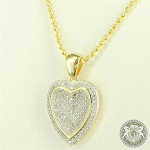 Locket Style Yellow Gold Finish Heart Necklace Micro Pave Silver Pendant Chain