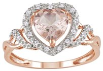 10k Rose Gold Morganite And Diamond Heart Crossover Fashion Ring 1.2 Ct