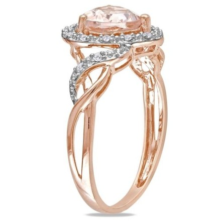 Other 10k Rose Gold Morganite And Diamond Heart Crossover Fashion Ring 1.2 Ct