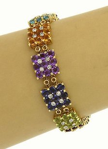 Other Magnificent 14k Two Tone Gold 26.50ctw Diamond Multi-color Gemstone Bracelet